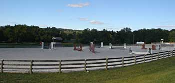One of the oudoor arenas at Caves Farm